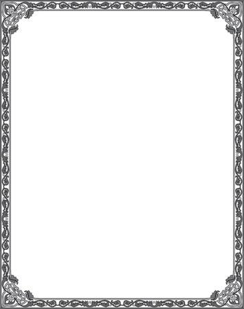 тощий: Украшенный тонкая рамка, черный и белый