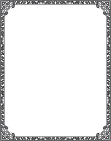 Garnished thin frame, Black and White Vector
