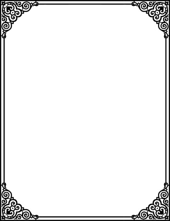 simple frame: Simple outline vector frame with corners, Grayscale Illustration