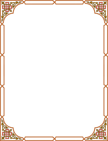 Simple outline vector frame with corners, Colored Vector