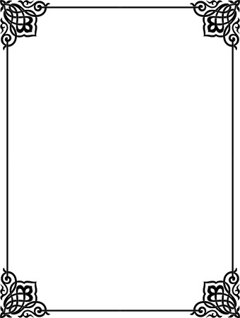 Simple outline vector frame with corners, Grayscale Vector