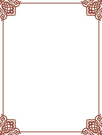 antique frames: Esquema simple del vector del marco con las esquinas, de color