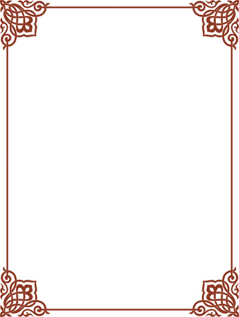 Simple outline vector frame with corners, Colored
