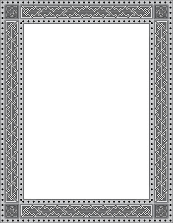 Tiled arabesque vector frame, thick, Grayscale Vector
