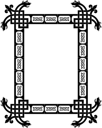 Tiled arabesque vector frame, with corners, Grayscale Vector