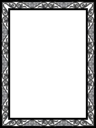 Garnished thin frame, Grayscale Vector