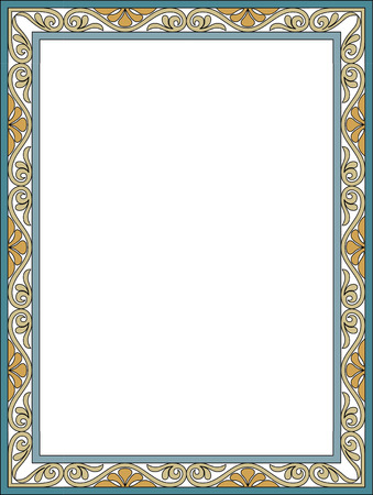 Garnished thin frame, Colored Vector