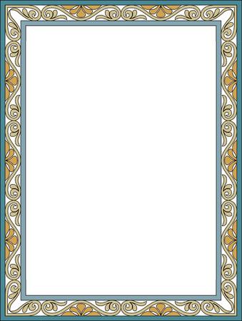 garnished: Garnished thin frame, Colored Illustration
