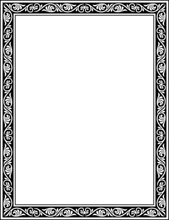 garnished: Garnished thin frame, Grayscale Illustration