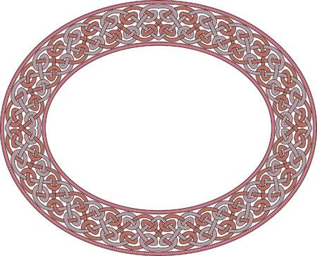 garnished: Garnished oval vector frame, Colored