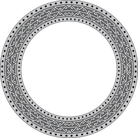 garnished: Garnished circle frame, Grayscale Illustration