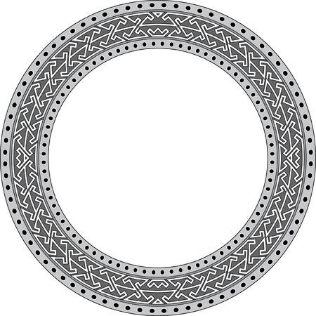 garnished: Garnished circle frame, Grayscale Illustration