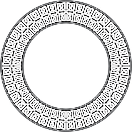 Garnished circle frame, Grayscale Vector
