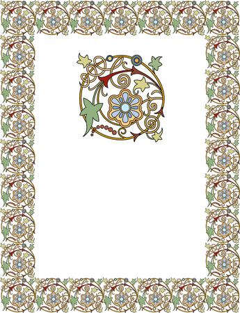 page borders: Tiled frame in plant leaves and flowers