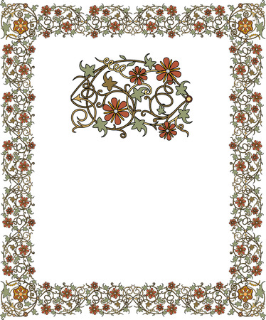 thick: Tiled frame in plant leaves and flowers