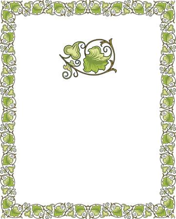page borders: Tiled frame in plant leaves Illustration