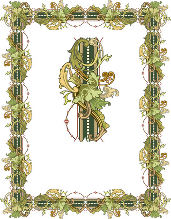 thick: Tiled frame in plant leaves Illustration