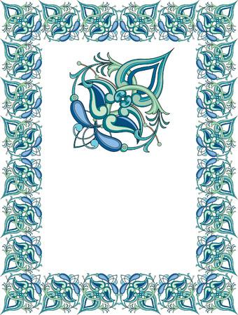 simple line drawing: Tiled ornate frame