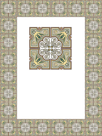Tiled ornate frame with flowers Vector