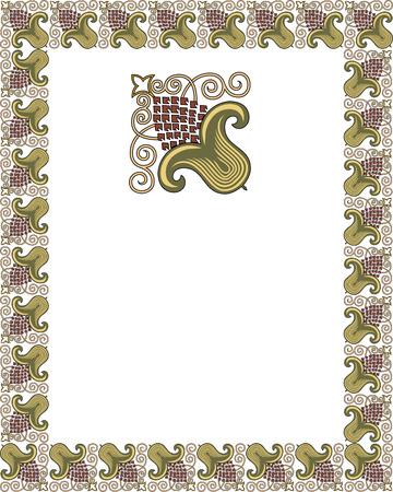 Tiled ornate frame with flowers Stock Vector - 23444802