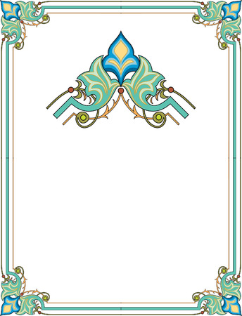 oriental: Simple outline frame with corners