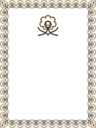 marcos decorados: Planta de algodón simple marco de contorno
