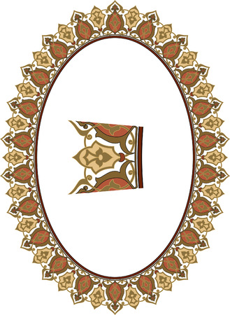 garnished: Garnished oval frame Illustration