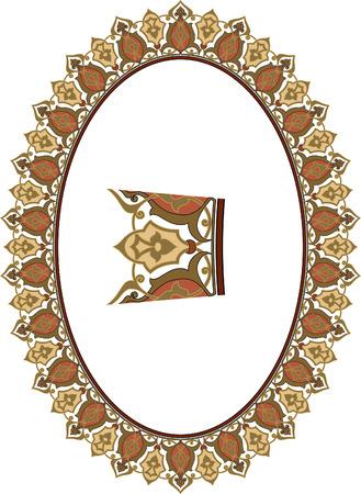 garnished: Garnished oval frame Illustration
