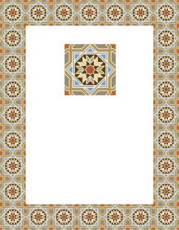 Tiled arabesque border frame Illustration