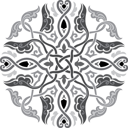 Oriental decoration pattern, Grayscale Vector