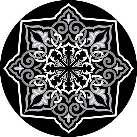 Arabesque decoration pattern, Grayscale