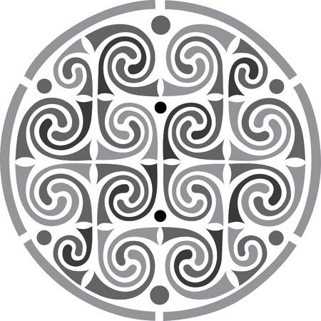 em tons de cinza: Círculo projeto do vetor ornamentado, em tons de cinza