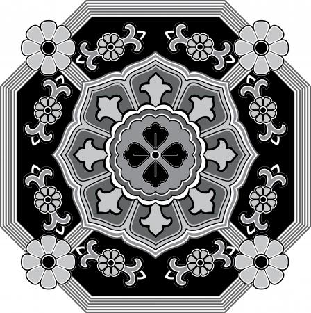 Flowers decoration pattern, Grayscale