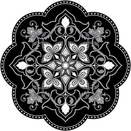 Garnished pattern, vector design, Grayscale
