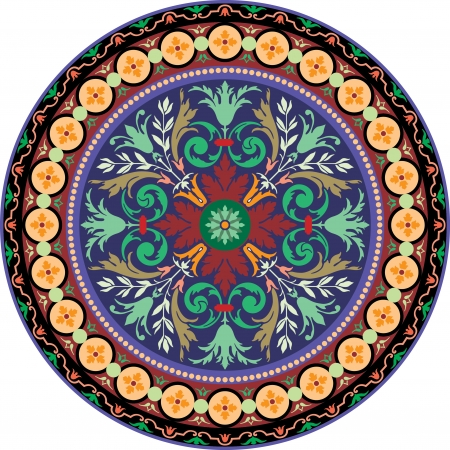 dekorativa mönster: Garneras mönster, vektordesign, färgad Illustration