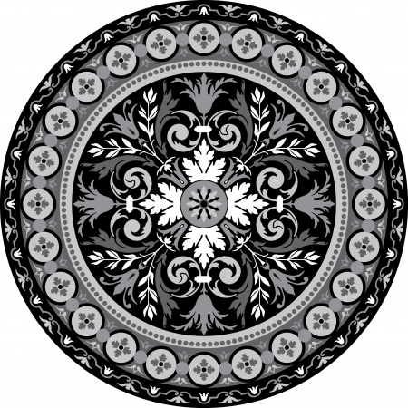 grayscale: Garnished pattern, vector design, Grayscale