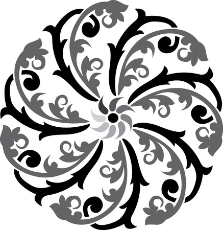 Flowers decoration pattern, Grayscale Vector