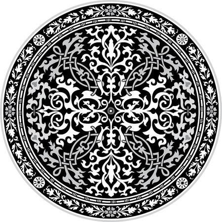 編集可能なベクトル、グレースケールでの花の装飾で華やかなアラベスク
