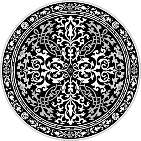 Arabesque ornate with flowers decoration in editable vectors, Grayscale Illustration