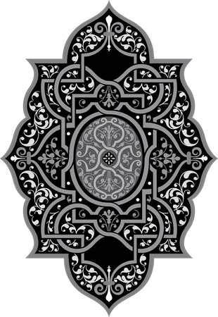 Oriental ornament vector design, Grayscale Vector