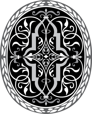 garnished: Garnished oval vector design, Grayscale