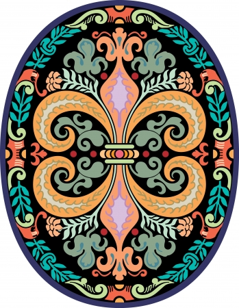 garnished: Garnished oval vector design, Colored Illustration