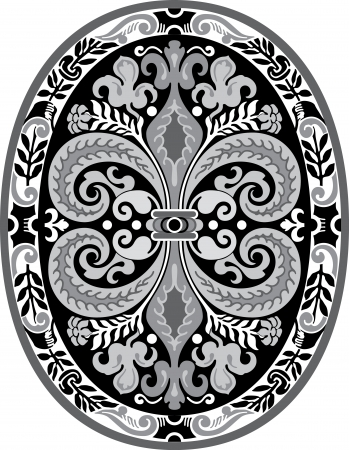 Garnished oval vector design, Grayscale Vector