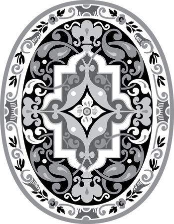 garnished: Garnished oval vector design, Grayscale