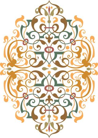 Diseño del vector del ornamento oriental, de color