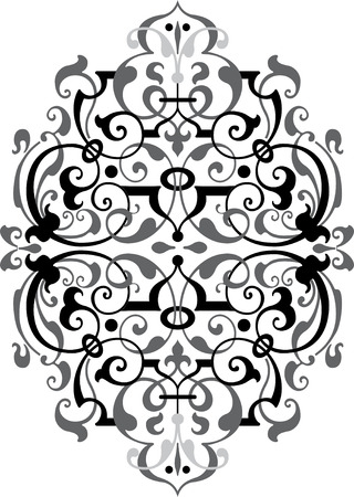 Oriental ornament vector design, Grayscale Vector