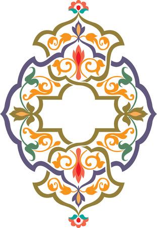 色の華やかな花装飾とアラベスク