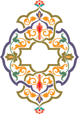 Arabesque ornate with flowers decoration, Colored