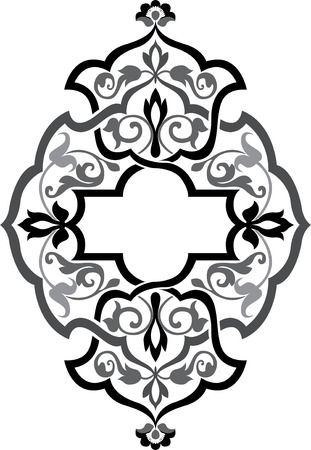 Arabesque ornate with flowers decoration, Grayscale Vector