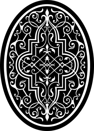 Garnished oval vector design, Monochrome Vector